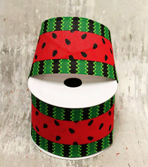 "2.5"" Bold Watermelon Stripe Ribbon-Spring Ribbon-Ellis Home & Garden"
