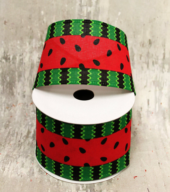 "2.5"" Bold Watermelon Stripe Ribbon"