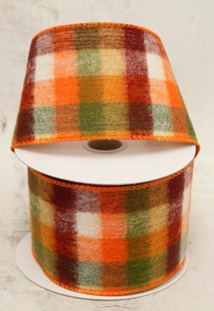 "2.5"" Brushed Moss Plaid Ribbon-Fall Harvest Ribbon-Ellis Home & Garden"