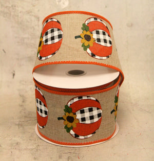 "2.5"" Buffalo Plaid Pumpkins with Sunflower Fall Harvest Ribbon-Fall Harvest Ribbon-Ellis Home & Garden"