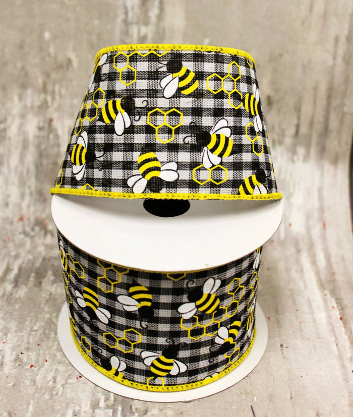 "2.5"" Bumble Bees on Mini Black & White Checked Spring Ribbon  - 5 yards"