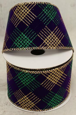 "2.5"" Gold and Green Diamond on Purple Velvet Wire Ribbon-Mardi Gras Ribbon-Ellis Home & Garden"
