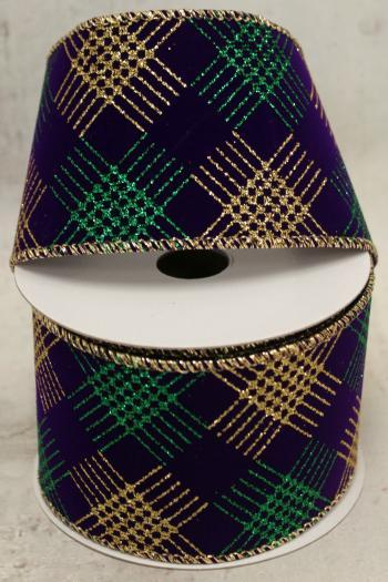 "2.5"" Gold and Green Diamond on Purple Velvet Wire Ribbon"