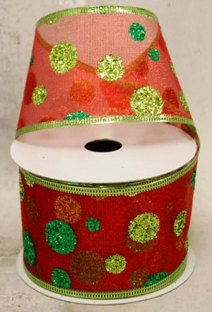 "2.5"" Green Glitter Dots on Red Mesh Wire Ribbon-Christmas Ribbon-Ellis Home & Garden"