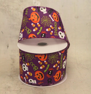 "2.5"" Halloween Friends on Purple Ribbon-Halloween Ribbon-Ellis Home & Garden"