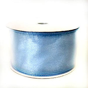 "2.5"" Light Blue Sheer Wired Ribbon-Satin Ribbon-Ellis Home & Garden"