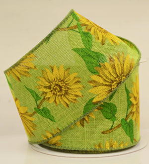 "2.5"" Lime Sunflowers Linen Ribbon-Spring Ribbon-Ellis Home & Garden"