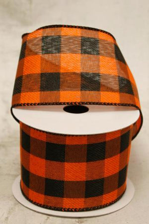 "2.5"" Orange and Black Plaid Wire Ribbon-Halloween Ribbon-Ellis Home & Garden"