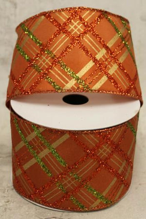 "2.5"" Orange, Green and Gold Diamond Glitter Wire Ribbon-Fall Harvest Ribbon-Ellis Home & Garden"