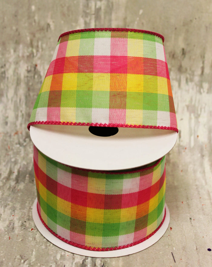 "2.5"" Pink, Yellow, and Lime Green Plaid Spring Ribbon - 5 yards"