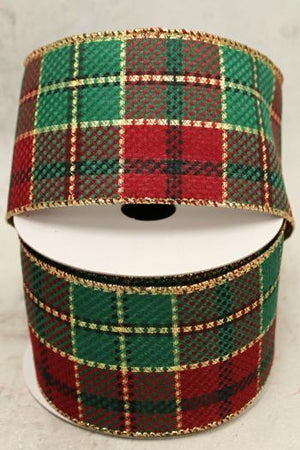 "2.5"" Red, Green and Gold Plaid Wire Ribbon-Christmas Ribbon-Ellis Home & Garden"