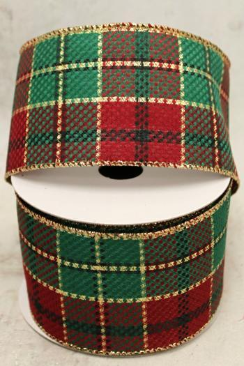 "2.5"" Red, Green and Gold Plaid Wire Ribbon"