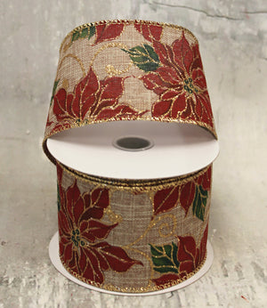 "2.5"" Red Poinsettia on Burlap Christmas Ribbon-Christmas Ribbon-Ellis Home & Garden"