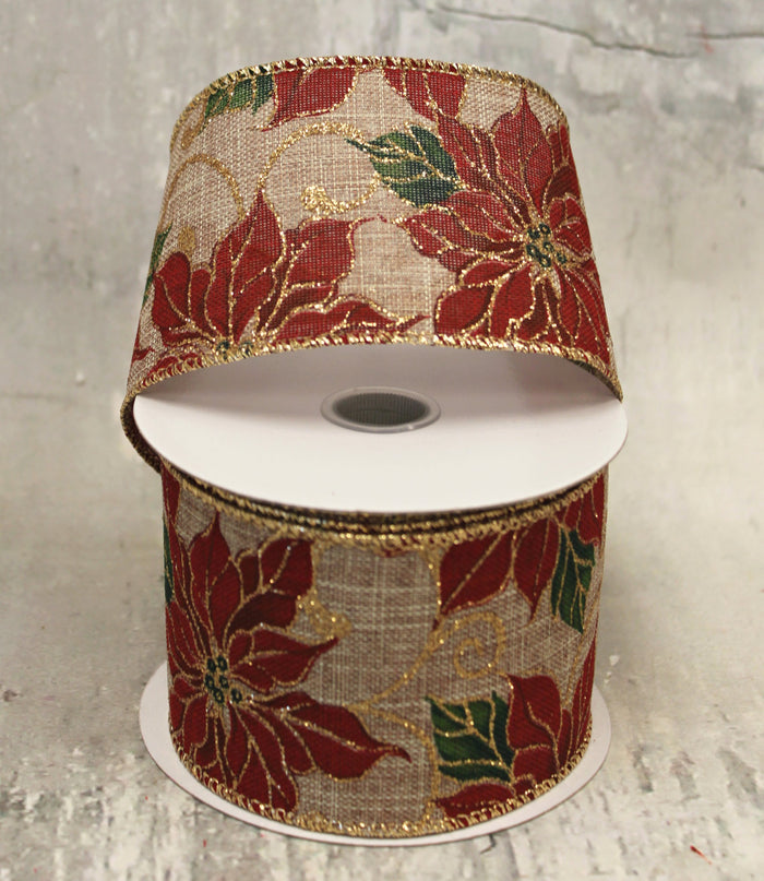 "2.5"" Red Poinsettia on Burlap Christmas Ribbon"