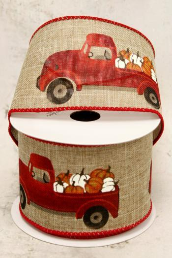 "2.5"" Red Truck with Pumpkins Wire Ribbon"