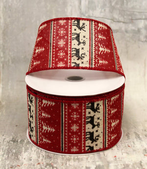 "2.5"" Red, White, & Black Fair Isle Christmas Ribbon-Christmas Ribbon-Ellis Home & Garden"