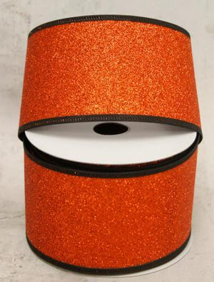 "2.5"" Rust Glitter with Black Edging Wire Ribbon-Halloween Ribbon-Ellis Home & Garden"