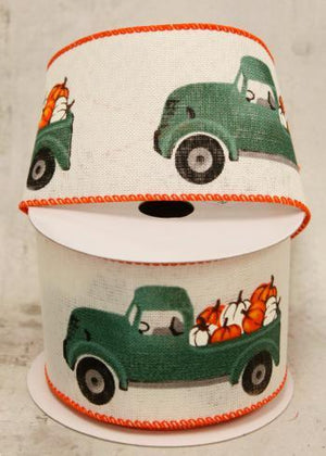 "2.5"" Teal Farm Truck Ribbon-Fall Harvest Ribbon-Ellis Home & Garden"