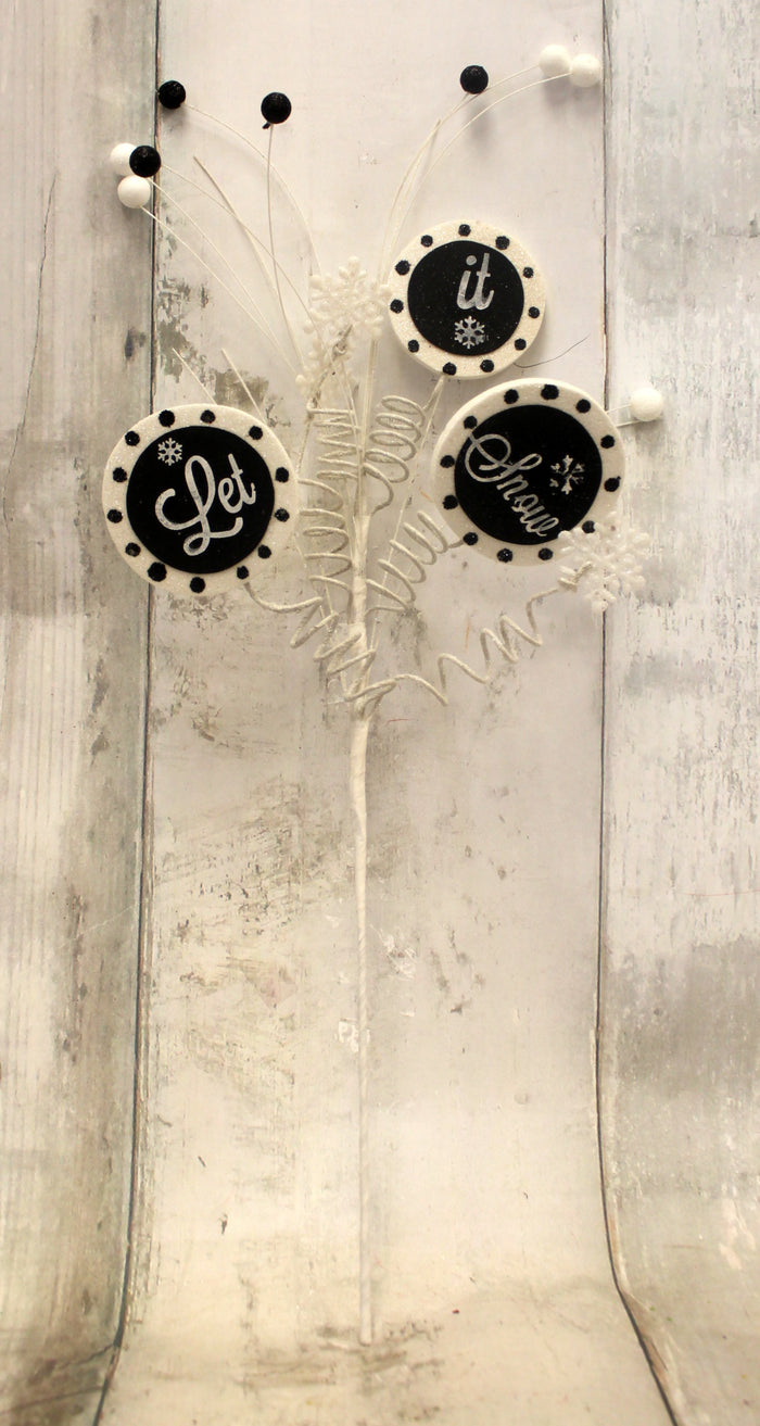 "26"" Let It Snow Black & White Chalkboard Christmas Curly Floral Spray"