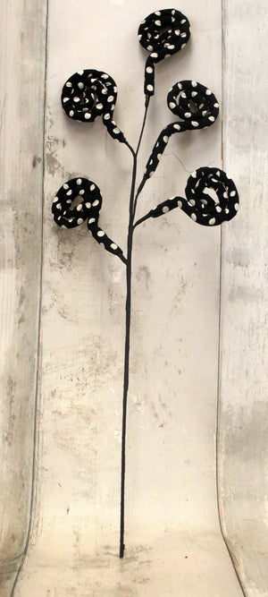 "28"" Black & White Polka Dot Swirl Floral Spray-Easter Floral-Ellis Home & Garden"