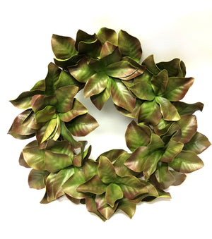 "28"" Magnolia Leaves Wreath-Spring Wreaths & Garlands-Ellis Home & Garden"