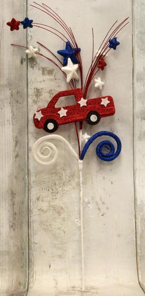 "28"" Patriotic Truck with Red, White and Blue Star Spray-Patriotic Floral-Ellis Home & Garden"