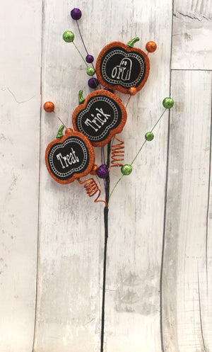 "28"" Trick or Treat Chalk Board Halloween Floral Stem-Halloween Floral-Ellis Home & Garden"