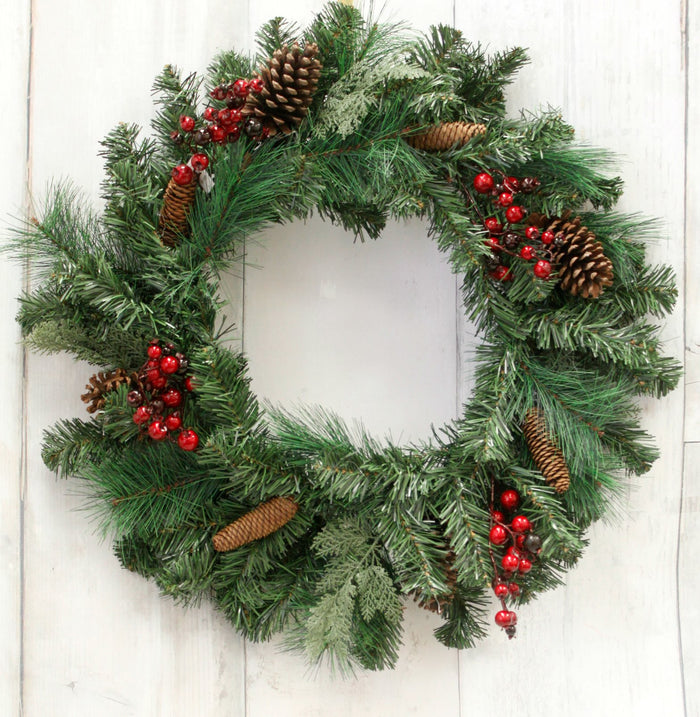 "30"" Berry & Pine Cone Evergreen Wreath"