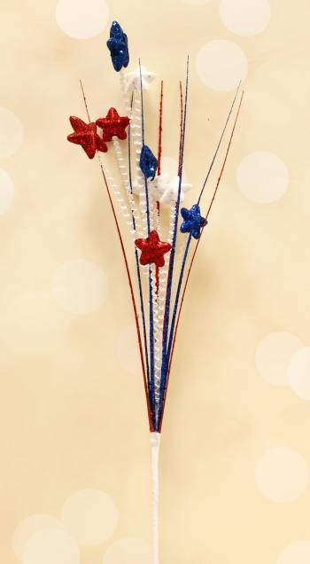 "32"" Red, White and Blue Glitter Star Grass Spray"