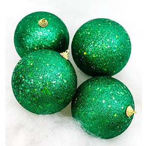 Chunky Emerald Glitter Boxed Christmas Ornaments