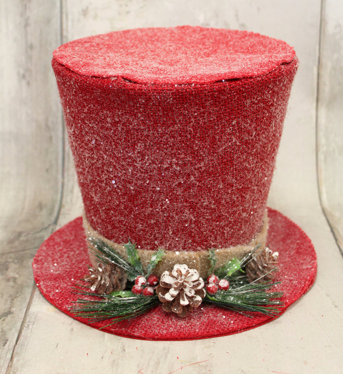 Red Rustic Woodland Top Hat Tree Topper