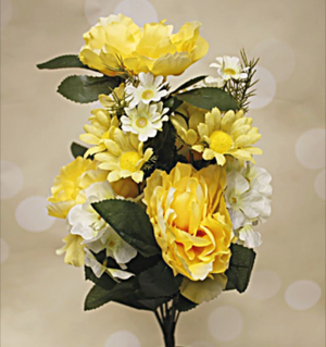 "20"" Yellow & White Peony and Hydrangea Mixed Spring Floral Bush"