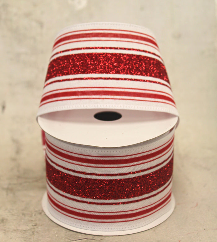 "2.5"" Red & White Glitter Striped Christmas Ribbon"