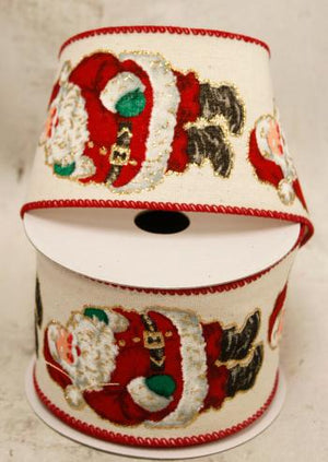 "2.5"" Wired Santa print Ribbon"