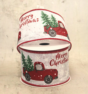 "2.5"" Red Farm Truck on White Christmas Ribbon"