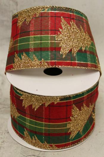 "2.5"" Gold Christmas Tree on Red and Green Plaid Wired Ribbon"