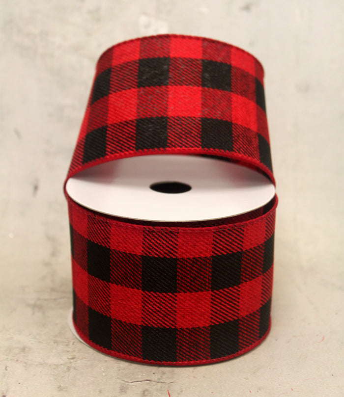 "2.5"" Red & Black Buffalo Plaid Christmas Ribbon"