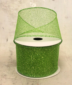 "2.5"" Lime Green Glittered Netting Christmas Ribbon"