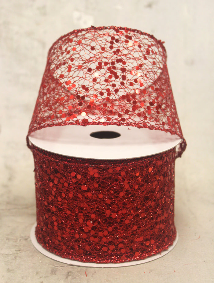 "2.5"" Red Glittered Netting with Sequins Christmas Ribbon"