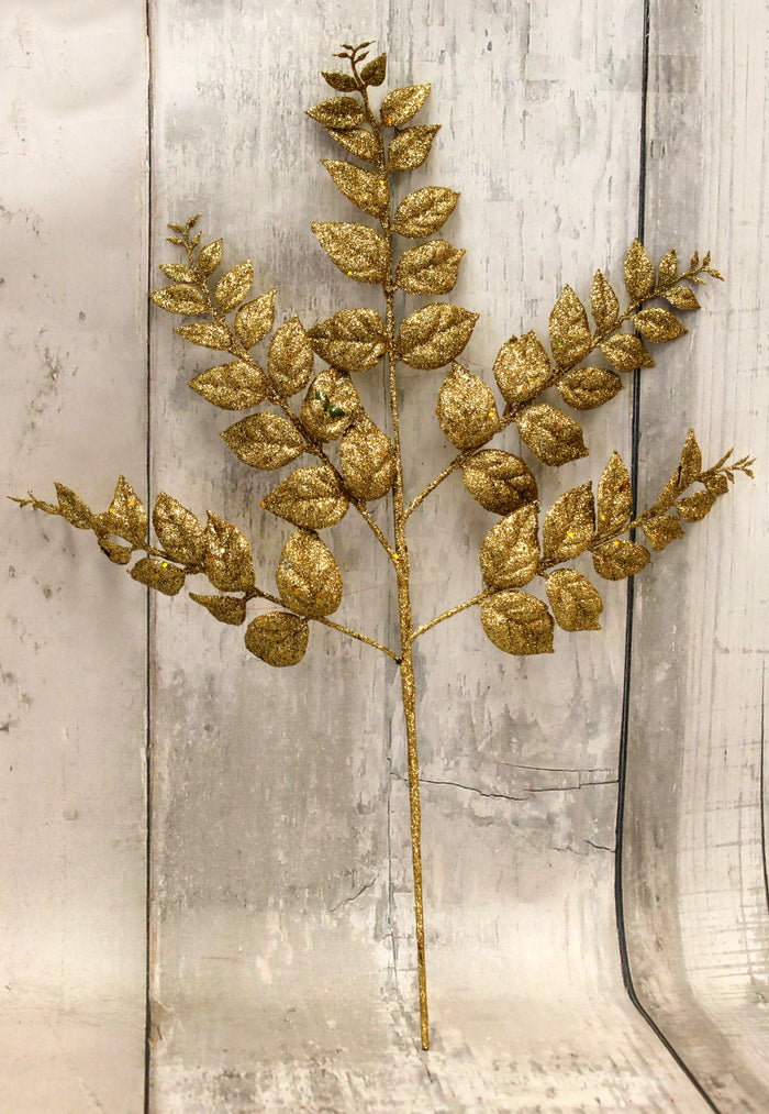 "20"" Gold Glittered Fern Spray"