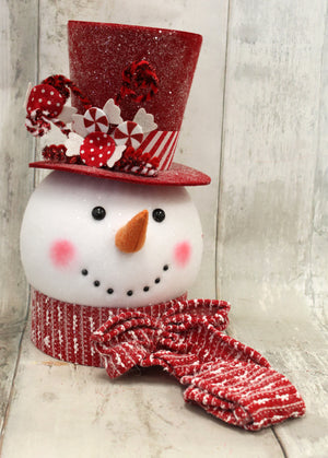 Peppermint Candy Snowman Tree Topper