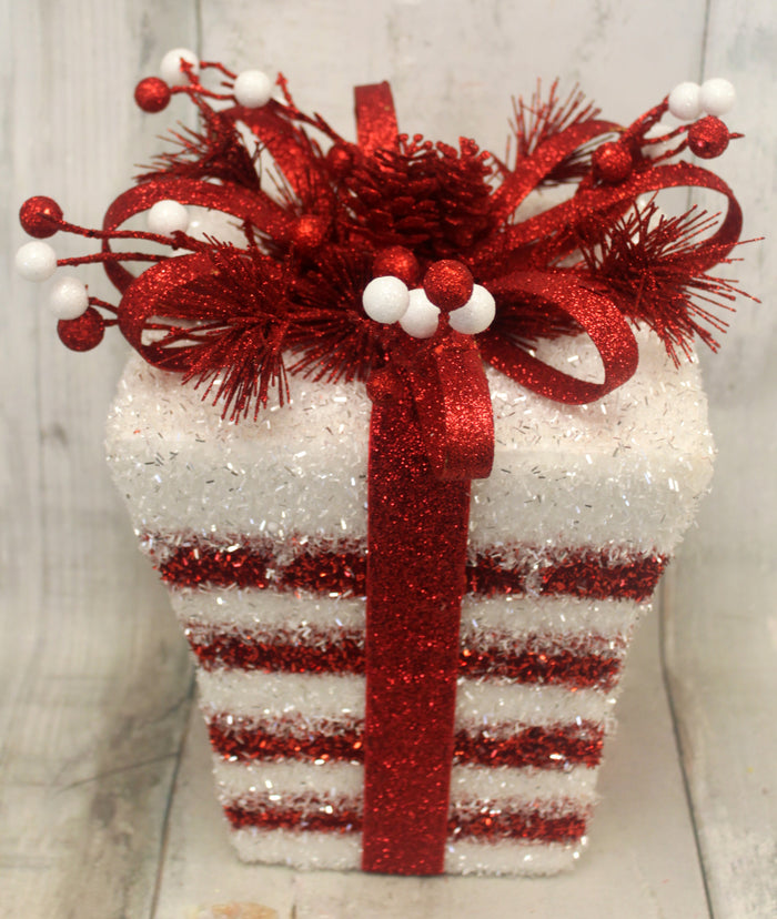 Red & White Striped Glitter Christmas Present
