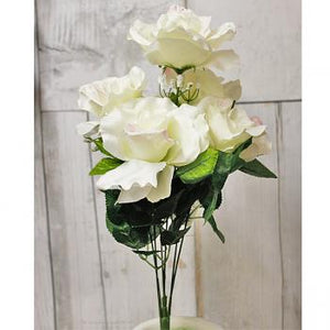 "19"" Artificial Open Rose Bush - Cream-Everyday Floral Bushes-Ellis Home & Garden"