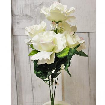 "19"" Artificial Open Rose Bush - Cream"