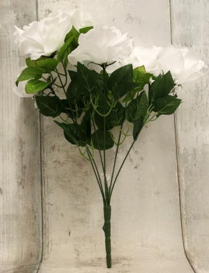 "19"" Artificial Open Rose Bush - White"