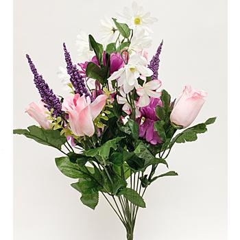 Purple & Light Pink Rosebud, Gerbera Daisy, & Aster Mixed Spring Floral Bush