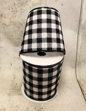 "4"" Black & White Buffalo Plaid Ribbon-Spring Ribbon-Ellis Home & Garden"