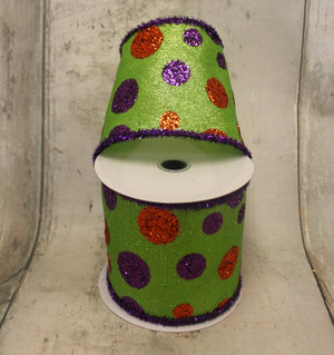 "4"" Halloween Glitter Dots on Lime Green Ribbon-Halloween Ribbon-Ellis Home & Garden"