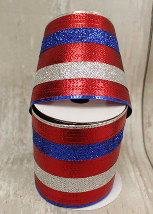 "4"" Metallic Red, Silver, & Blue Stripes Ribbon-Patriotic Ribbon-Ellis Home & Garden"