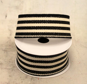 "1.5"" Black & Cream Stripe Linen Christmas Ribbon"